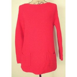 Vince Camuto Red Chunky Sweater w/ Pockets EUC